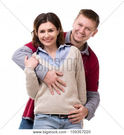 portrait of cute smiling couple isolated on white background