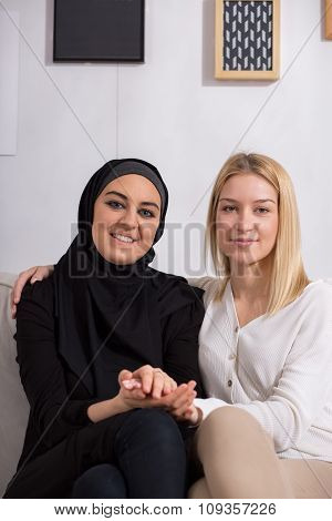 Arabic And European Women Friends