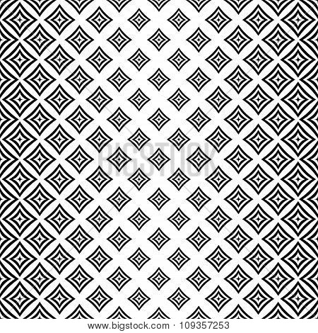 Seamless monochrome angular curved square pattern
