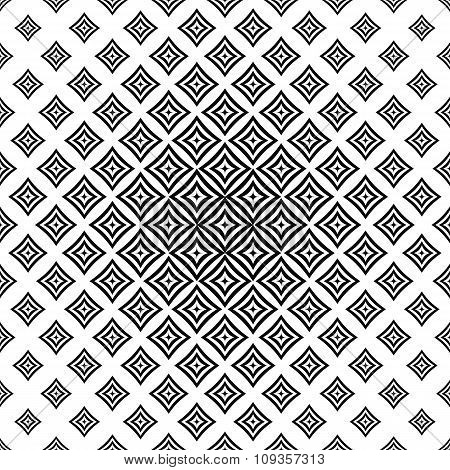 Monochrome seamless curved concentric square pattern