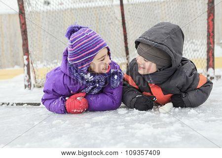 portrait of happy child in winter hat