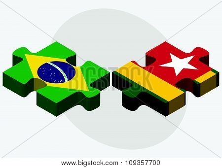 Brazil And Togo Flags