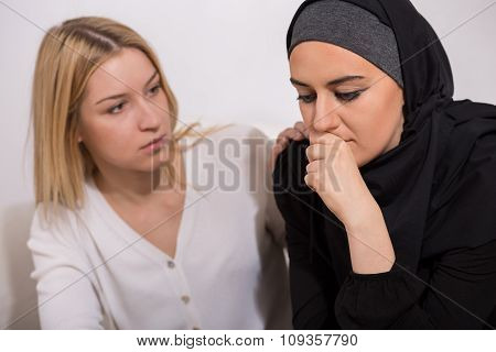 Worried Arab Woman With Friend