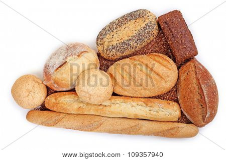 Different types of bread and cereal, isolated on white
