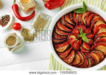Ratatouille - traditional French Provencal vegetable dish cooked in oven