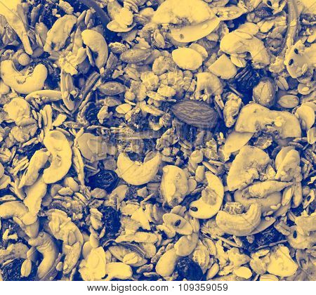 Pile Of Granola Cereal ,film Style Toning