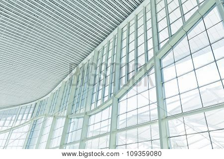 glass wall and ceiling in modern hall