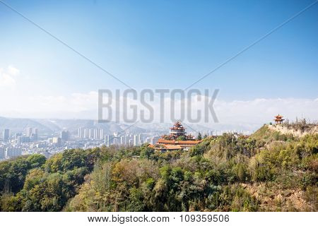 landscape of temple on hill in clear sky. cityscape background