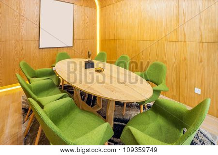 oval table in modern dining room of villa