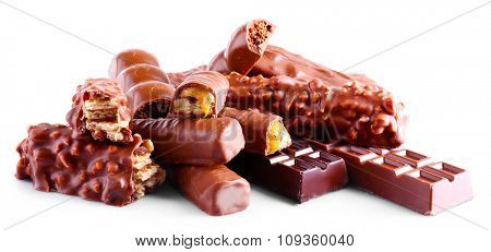 Mix of chocolate bars, isolated on white