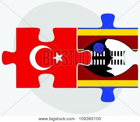 Turkey And Swaziland Flags
