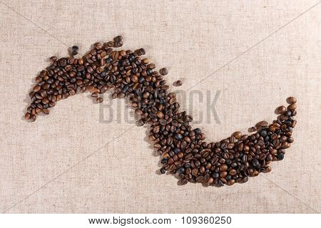 Figure of roasted coffee beans on the linen fabric
