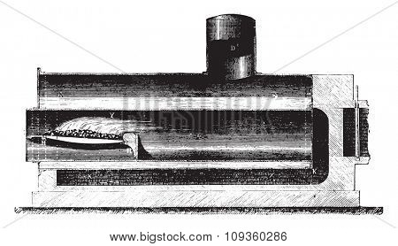 Boiler Cornwall, vintage engraved illustration. Industrial encyclopedia E.-O. Lami - 1875.
