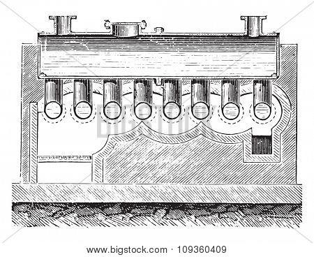 Wolff boiler, vintage engraved illustration. Industrial encyclopedia E.-O. Lami - 1875.