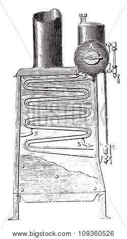Boiler Temple, vintage engraved illustration. Industrial encyclopedia E.-O. Lami - 1875.