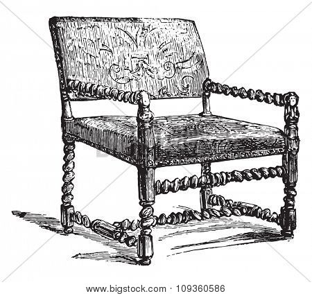 Louis-three chair, vintage engraved illustration. Industrial encyclopedia E.-O. Lami - 1875.