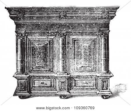 Furniture beginning of the seventeenth century, vintage engraved illustration. Industrial encyclopedia E.-O. Lami - 1875.