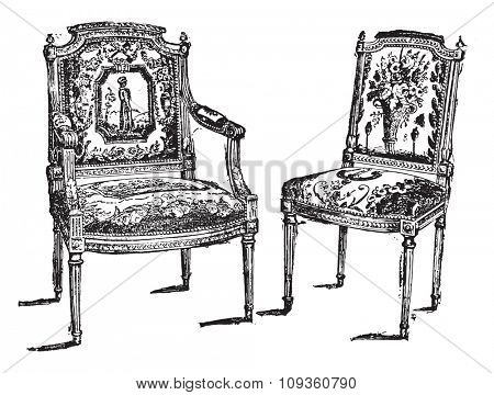 Louis-six seats, vintage engraved illustration. Industrial encyclopedia E.-O. Lami - 1875.