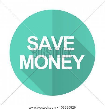 save money blue web flat design circle icon on white background
