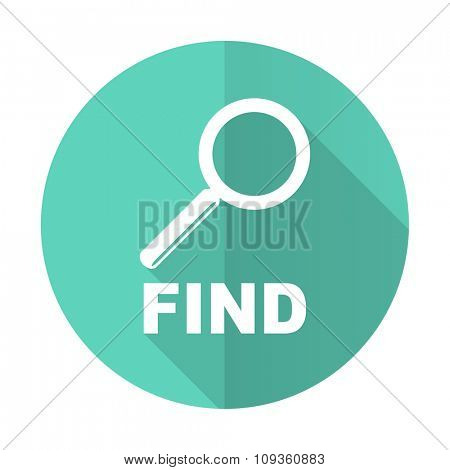 find blue web flat design circle icon on white background