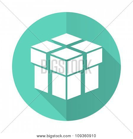 box blue web flat design circle icon on white background