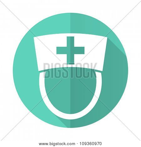nurse blue web flat design circle icon on white background