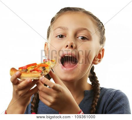 Little girl eating pizza isolated on white
