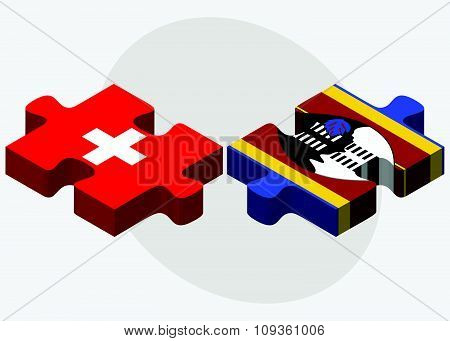 Switzerland And Swaziland Flags