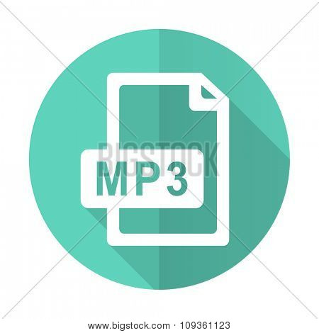 mp3 file blue web flat design circle icon on white background