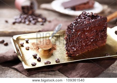 Chocolate cake with chocolate cream on tray, on wooden background