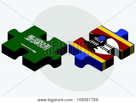 Saudi Arabia And Swaziland Flags