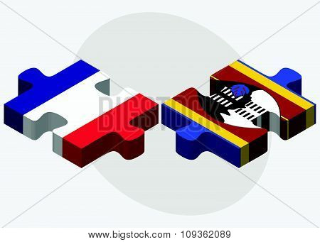 France And Swaziland Flags