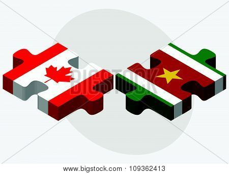Canada And Suriname Flags