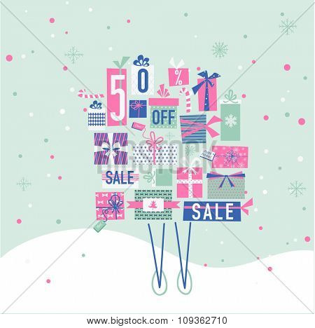 Christmas Sale Banner with Gifts - in vector