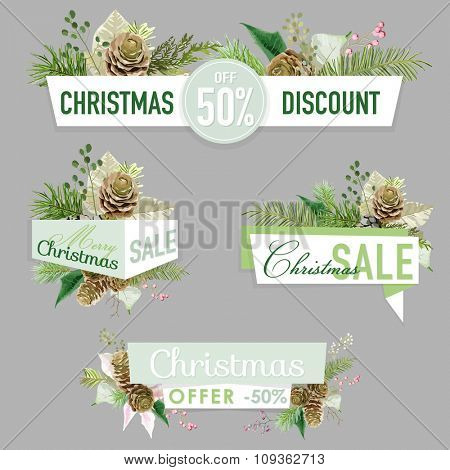 Christmas Sale Banners, Labels and Tags - in vector
