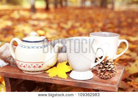 Autumn composition with hot beverage on nature background