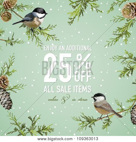 Christmas Sale Poster or Banner - with Winter Bird - in vector