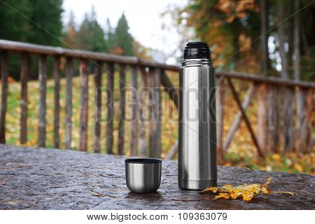 Thermos on a table outdoor