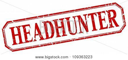 Headhunter Square Red Grunge Vintage Isolated Label