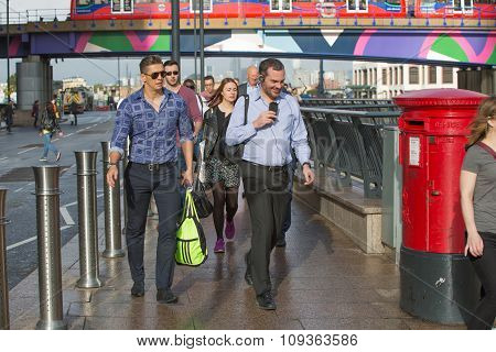 London, LONDON, UK - SEPTEMBER 14, 2015:  Office workers going to work. Early morning hours in Canar