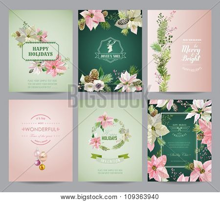 Set of Christmas Brochures and Cards - Colorful Layouts - in vector