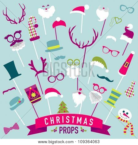 Christmas Retro Party set - Photo booth Props - in vector