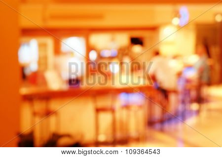 Blurred background of a cafe in a hotel