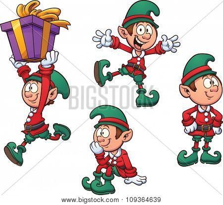 Christmas elf in different positions. Vector clip art illustration with simple gradients. Each on a separate layer.