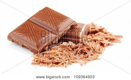 Milk chocolate pieces isolated on white