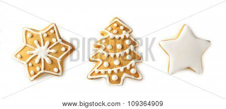 Christmas cookies, isolated on white