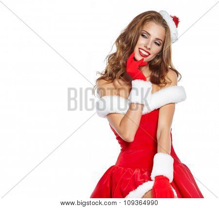santa claus woman with a christmas gift