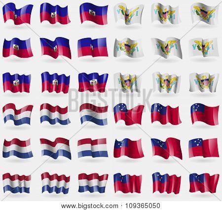 Haiti, Virginislandsus, Netherlands, Samoa. Set Of 36 Flags Of The Countries Of The World.