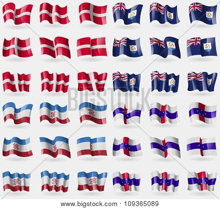 Military Order Malta, Anguilla, Mari El, Netherlands Antilles. Set Of 36 Flags Of The Countries Of