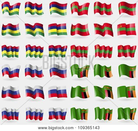 Mauritius, Transnistria, Russia, Zambia. Set Of 36 Flags Of The Countries Of The World.